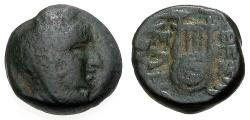Ancient Coins - gF/gF Boeotia Thespiai Æ15 / Arsinoe / Lyre