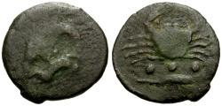 Ancient Coins - Sicily, Akragas Æ Trias / Eagle / Crab