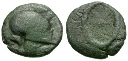 Ancient Coins - Thrace. Mesembria Æ19 / Helmet and Shield