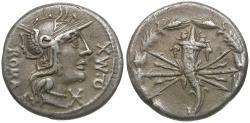 Ancient Coins - 127 BC - Roman Republic Q. Fabius Maximus AR Denarius / Cornucopia