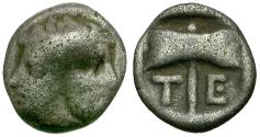 Ancient Coins - Islands off Troas. Tenedos AR Obol / Double Axe