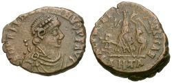 Ancient Coins - Valentinian II (AD 375-392) Æ4 / Victory and Captive