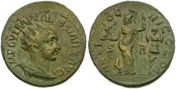 Ancient Coins - Volusian (AD 251-253). Pisidia. Antioch Æ24 / Athena and Trophy