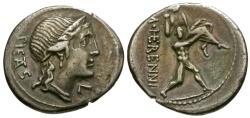 Ancient Coins - 108-107 BC - Roman Republic M. Herennius AR Denarius / Catanaean  Brother