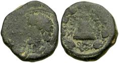 Ancient Coins - Antoninus Pius (AD 138-161). Commagene. Zeugma Æ24 / Temple with Sacred Grove