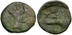 Ancient Coins - Spain. Iberia. Carteia Æ Quadrans / Cupid Riding Dolphin
