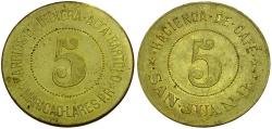 World Coins - Puerto Rico.  Hacienda Café San Juan Indiera Bartolo Maricao 5 Almudes 37mm Brass Token