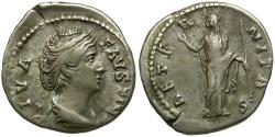 Ancient Coins - Faustina I (AD 138-141) AR Denarius / Juno