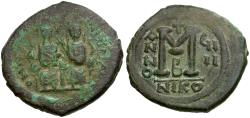 Ancient Coins - *Sear 369* Byzantine Empire.  Justin II and Sophia Æ Follis