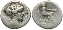 Ancient Coins - 89 BC - Roman Republic. M. Cato AR Denarius / Victoria Virgo