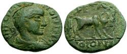 Ancient Coins - Elagabalus, Arabia Petra Æ20 / Colonist Ploughing