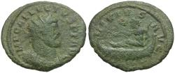 Ancient Coins - Allectus (AD 293-296) Æ Quinarius / Neptune in Galley