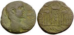 Ancient Coins - Elagabalus. Phoenicia. Tripolis Æ24 / Astarte in Temple