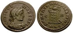 Ancient Coins - VF/VF Crispus Æ3 / Globe on Altar