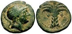 Ancient Coins - Spain Iberia Carthaginian Occupation of Carthago Nova Æ20 / Palm