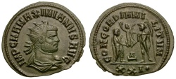 Ancient Coins - Maximianus Silvered Post Reform Radiate / Jupiter Presenting Victory to Emperor