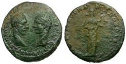 Ancient Coins - Macrinus and Diadumenian Moesia Inferior Marcianopolis Æ27 / Salus