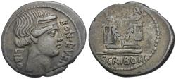 Ancient Coins - 62 BC - Roman Republic. L. Scribonius Libo AR Denarius / Well Head