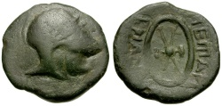 Ancient Coins - Thrace.  Mesembria Æ21 / Helmet and Shield