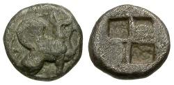 Ancient Coins - VF/VF Ionia Teos AR Trihemiobol / Griffin