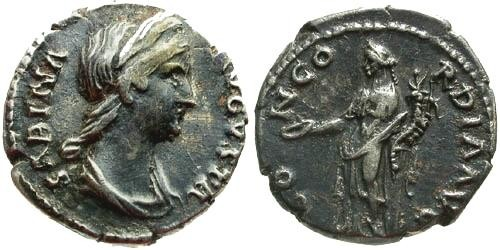 Ancient Coins - VF/VF Sabina Denarius Wife of Hadrian