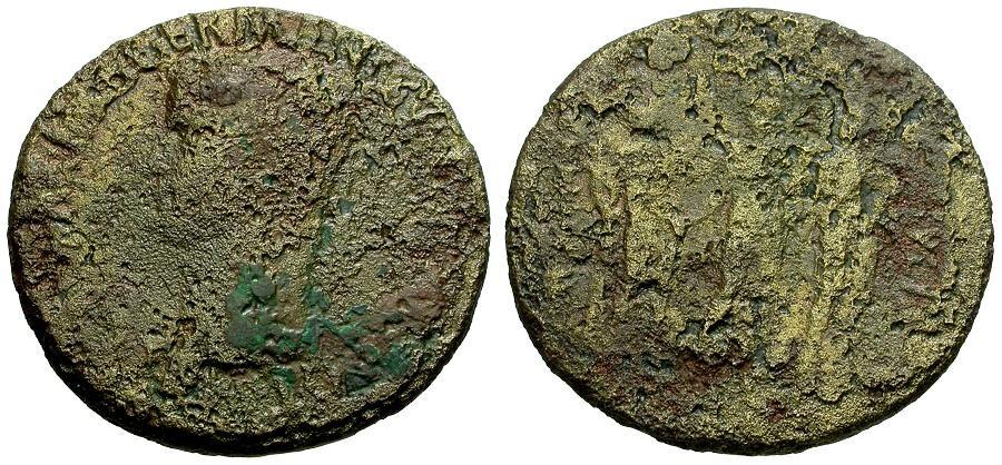 Ancient Coins - Caligula Æ Sestertius / Three Sisters