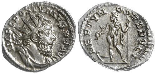 Ancient Coins - EF/EF Choice Postumus AR Antoninianus / Nude Neptune