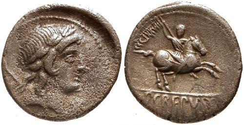 Ancient Coins - 82 BC / VF/VF Crepusia 1 Roman Republic Denarius / Horseman hurling spear
