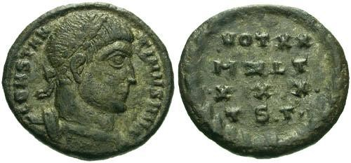 Ancient Coins - VF/VF Constantine the Great / Silvered Votive  R2
