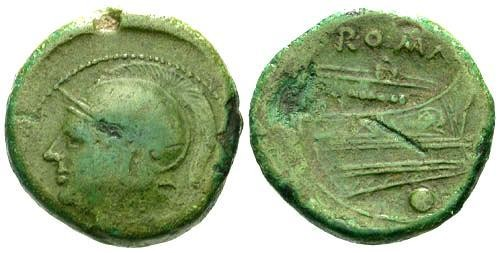 Ancient Coins - F+/F+ Republic Anonymous Uncia 217 BC