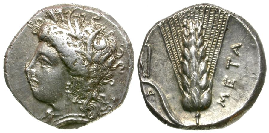 Ancient Coins - Lucania. Metapontum. Atha-, magistrate AR Stater / Tongs
