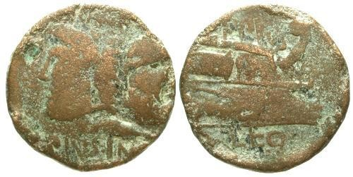 Ancient Coins - F/F Sextus Pompey AE AS with legate Eppius