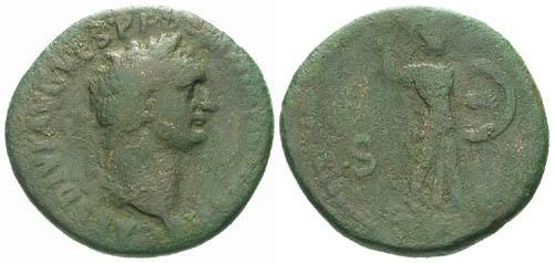 Ancient Coins - F/F Domitian AS / Minerva