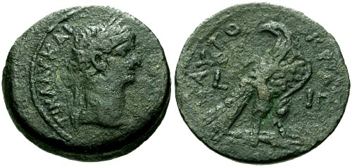 Ancient Coins - VF/VF Claudius Egypt Alexandria AE Diobol / Eagle
