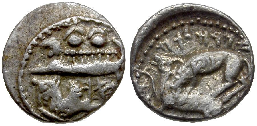 Ancient Coins - Phoenicia. Byblos. King Adramelek (375-351 BC) AR 1/16 Shekel