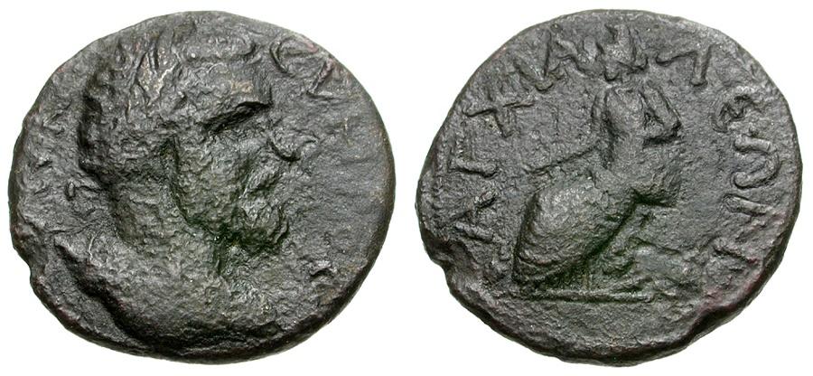 Ancient Coins - Septimius Severus.  Thrace. Anchialus  Æ21 / Cybele