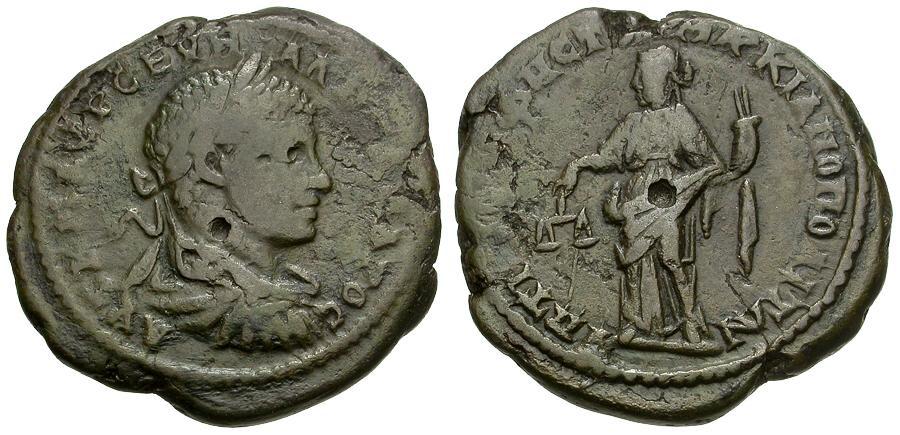 Ancient Coins - Severus Alexander.  Moesia. Marcianopolis Æ27 / Dikaiosyne
