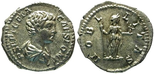 Ancient Coins - aEF/aEF Geta as Caesar Denarius / Nobilitas