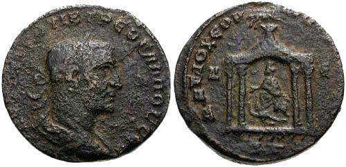 Ancient Coins - aVF/VF Trebonianus Gallus Syria Seleucis and Pieria Antioch AE29 / Temple