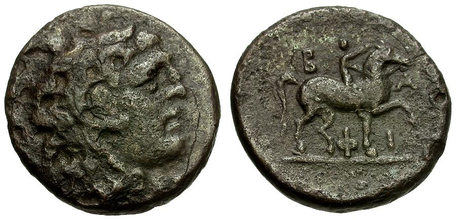 Ancient Coins - Kings of Macedon.  Philip V Æ18 / Youth on Horseback