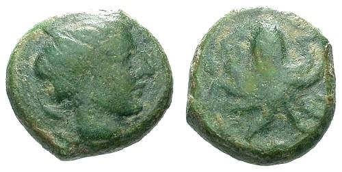 Ancient Coins - gF/gF Sicily Syracuse AE15 / Arethusa / Cuttlefish