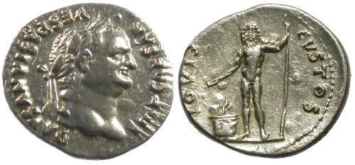 Ancient Coins - VF/VF Vespasian AR Denarius / Jupiter Facing