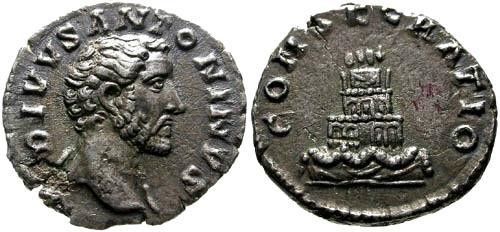 Ancient Coins - VF/VF Antoninus Pius AR Divvs Denarius / Funeral Pyre