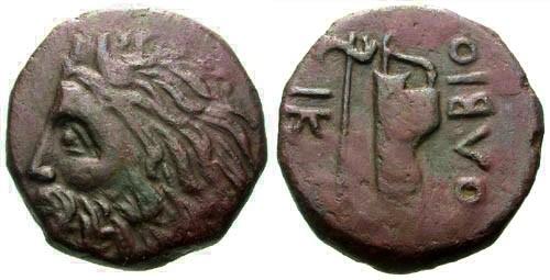Ancient Coins - VF/VF Olbia Sarmatia AE22 / River god and Battle Axe