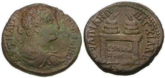 Ancient Coins - VF/VF Caracalla AE29 Thrace Anchialus / Table with Two Prize Urns
