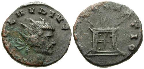 Ancient Coins - gF/gF Claudius II Gothicus Antoninianus / Altar