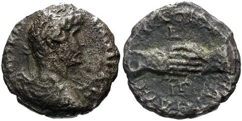 Ancient Coins - F/F Hadrian Billon Tetradrachm Alexandria Egypt / Clasped Hands