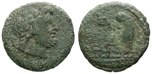 Ancient Coins - F/F 135-125 AD Roman Republic Anonymous AE Semis / Saturn / Prow