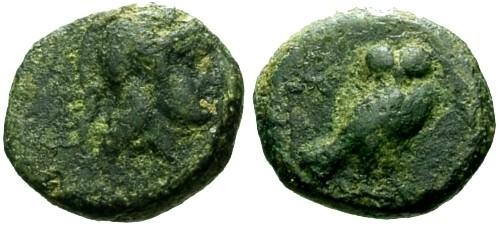 Ancient Coins - aVF/aVF Attica Athens AE12 / Owl
