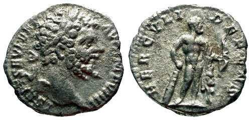 Ancient Coins - VF Septimus Severus Denarius / Hercules